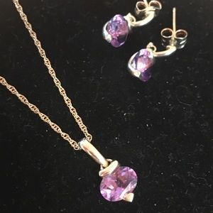Jewelry - Gold Amethyst Necklace and Earrings Set